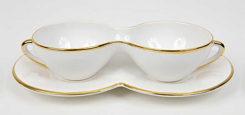 Mona Hatoum ,   T42 (gold)  ,  1999     gold trimmed fine stoneware in two parts     2 1/8 x 9 5/8 x 5½ in/5.5 x 24.5 x 14 cm     MOH-99-MU-003     $7,500