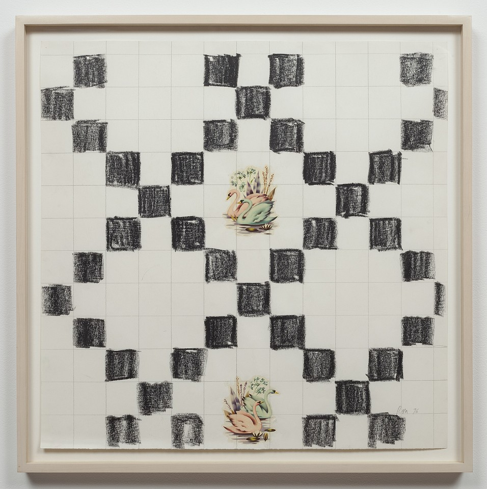 Ree Morton ,   Swans (Signs of Love)  ,  1976     decals, crayon and graphite on paper     22 1/2 x 22 1/2 in/57 x 57 cm     REM-76-DR-047