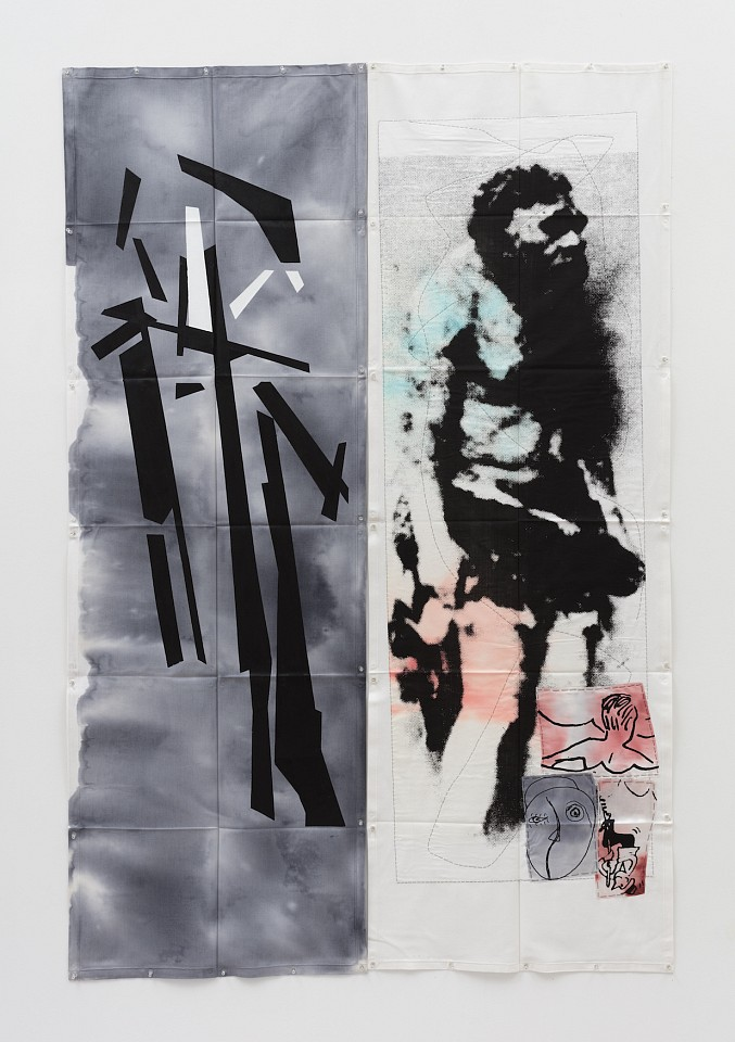 Eugenio Dittborn ,   Nadar Airmail Painting No. 191  ,  2017     dye, acrylic, stitching, and photosilkscreen on 2 sections of Loneta duck fabric     82 5/8 x 55 in/210 x 140 cm     ED-17-PA-130