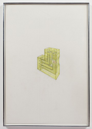 Paul Thek ,   Study for L-Column  ,  1966     colored pencil on paper     32 x 22 in/81.2 x 56 cm     PAT-66-DR-017/R