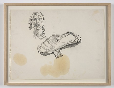 Paul Thek ,   Untitled (self-portrait and shoe)  ,  ca. 1970     pencil on paper     14 1/8 x 19 in/36 x 48.5 cm     PAT-70-DR-184