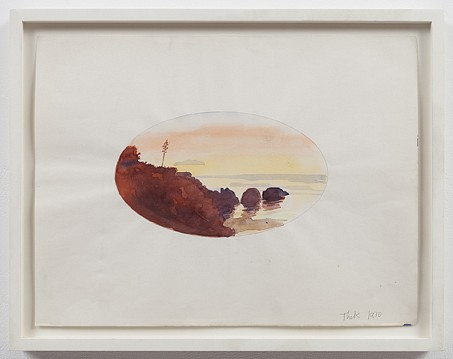 Paul Thek ,   Untitled (oval sunset)  ,  1970     watercolor and ink on paper     11 3/4 x 15 1/2 in/30 x 39.5 cm     PAT-70-DR-216/R