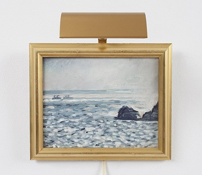 Paul Thek ,   Untitled (seascape with rocks)  ,  ca. 1975     oil on canvas with artist's frame and picture light     8 x 10 in./20.3 x 25.4 cm     PAT-75-PA-062