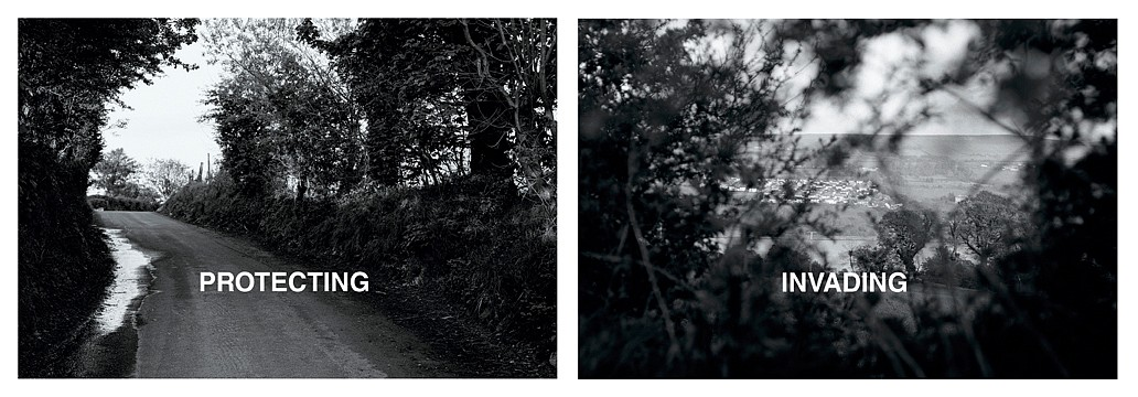 Willie Doherty ,   Protecting/Invading  ,  1987     diptych: black and white photographs with text mounted on aluminum     each: 48 x 72 in/122 x 183 cm     WID-87-PH-118