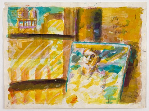 Paul Thek ,   The Painter Paints  ,  1985     watercolor and pencil on paper     18 x 24 in/ 46 x 61 cm     PAT-85-DR-018