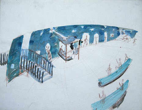 Paul Thek ,   Tilted Ark  ,  ca. 1985     watercolor and pencil on paper     19 1/2 x 24 3/4 in/ 49.5 x 62.8 cm     PAT-85-DR-262
