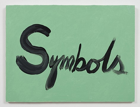 Ree Morton ,   Symbols (Signs of Love)  ,  1976     oil on plywood     13½ x 18 in/33 x 43 cm     REM-76-PA-030