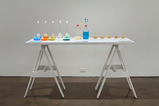 Victor Grippo ,   Todo en marcha (Índice del movimento general de los seres y las cosas)  ,  1973     glass bottles, dishes and flasks; salt solutions, potatoes and text on painted wooden table top and sawhorses      overall: 55 x 67 x 27 1/2 in/ 140 x 170 x 70 cm     VG-73-SC-010