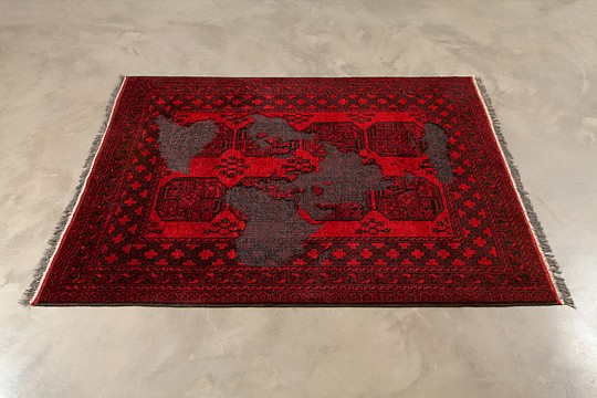 Mona Hatoum ,   Afghan (black and red)  ,  2009     wool     59 3/4 x 81 1/2 in/ 152 x 207 cm     MOH-09-SC-097