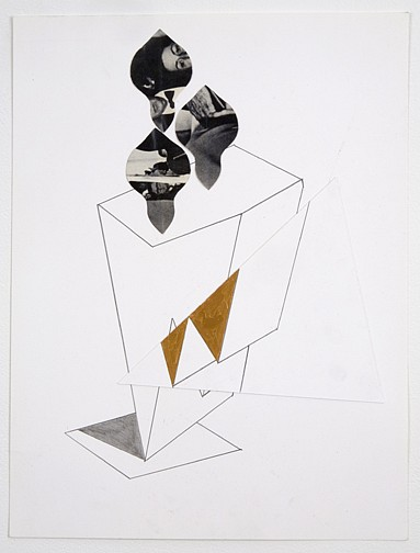 Diango Hernández ,   Cut and Faraway  ,  2007     acylic, pencil and printed offset paper on paper     16 1/8 x 12 1/8 in/ 41 x 30.8 cm     DH-07-DR-089