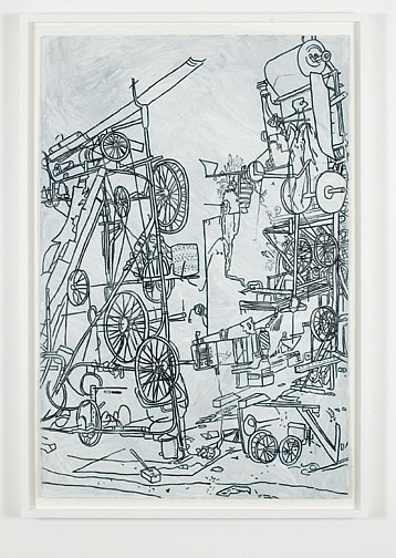 Michael Landy ,   H.2.N.Y. Tinguely's Contraption, Nation  ,  2006     oilstick on paper     40 x 26 1/2 in/ 101.5 x 67 cm     ML-06-DR-027