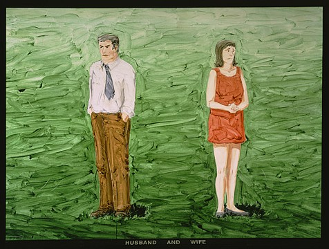 Neil Jenney ,   Husband and Wife  ,  1969     oil on canvas in painted wooden frame     56 x 76 1/4 in/ 142.2 x 193.7 cm     NJ-69-PA-006