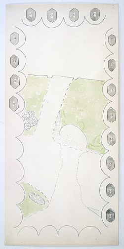 Ree Morton ,   Game-Map Drawing II  ,  ca. 1972-73     watercolor and pencil on paper     47 x 22 1/2 in./119.4 x 57.2 cm     REM-72-DR-054