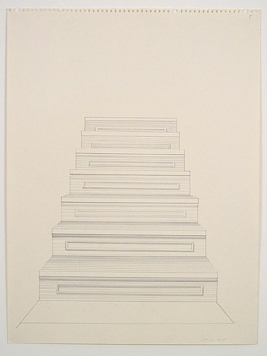 Sylvia Plimack Mangold ,   Untitled (staircase)  ,  1968     pencil on paper     24 x 18 in/ 61 x 45.7 cm     SPM-68-DR-306
