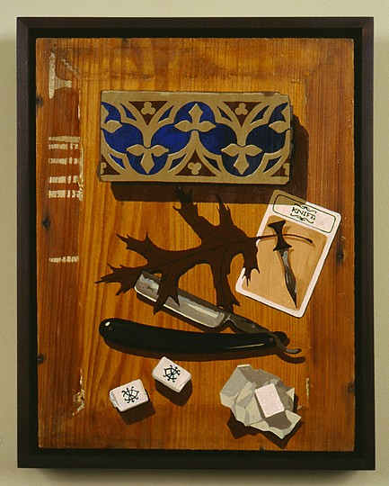 Matthew Benedict ,   Still Life with Razor and Sugarcubes  ,  2000     gouache on wood     13 1/4 x 10 in/33.5 x 25.5 cm     MATB-00-PA-067