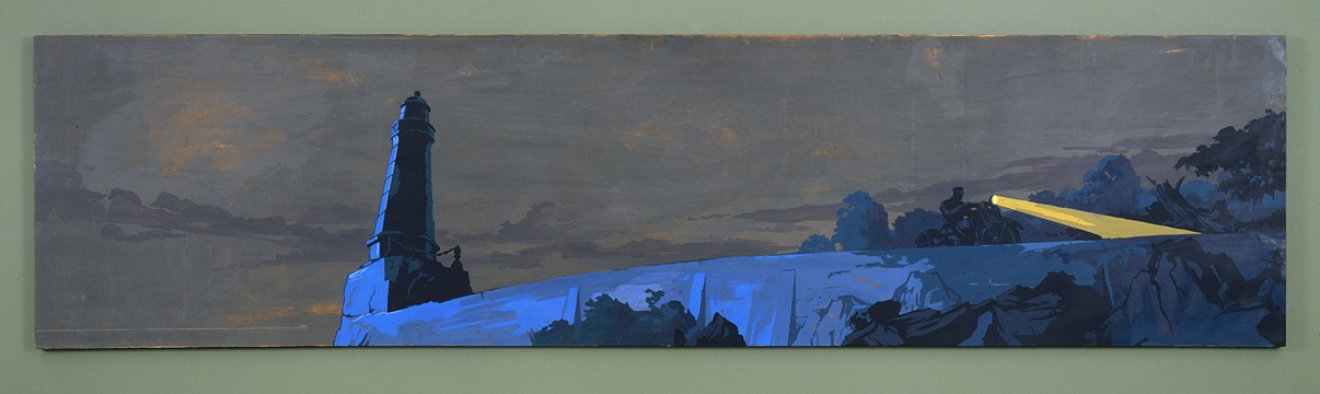 Matthew Benedict ,   Night Ride of Officer Fellows  ,  2000     gouache and wax varnish on wood     24 x 96 in/61 x 244 cm     MATB-00-PA-069