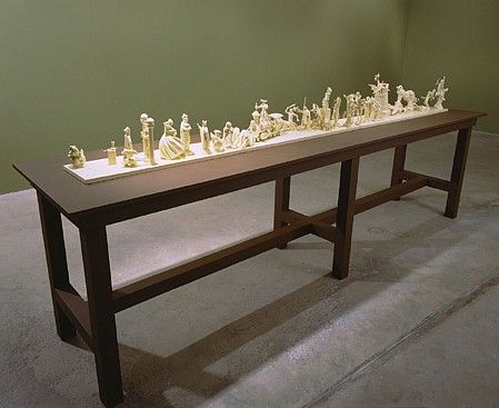 Matthew Benedict ,   The Trumps  ,  1998-2000     plastic, metal, ceramic and plaster toys and figurines, latex and enamel paint and wood     overall: 49 3/4 x 30 x 131 3/4 in 