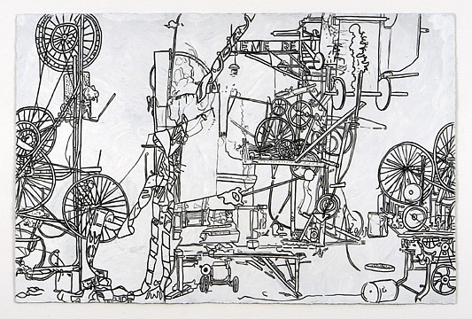 Michael Landy ,   H.2.N.Y. Screwball Machine Destroys Itself, Plainfield Courier News  ,  2006     oilstick on paper     26 1/4 x 40 in /67 x 102 cm     ML-06-DR-032