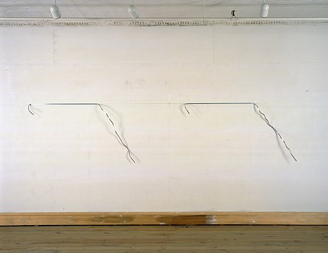 Neil Jenney ,   Linear Piece  ,  1967     aluminum in two parts     dimensions variable 