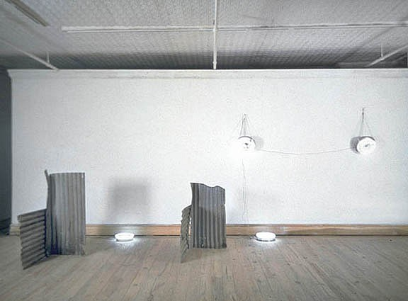 Neil Jenney ,   The Joanne Duffy Piece  ,  1968     corrugated tin sheeting and fluorescent fixtures     dimensions variable, approximately 