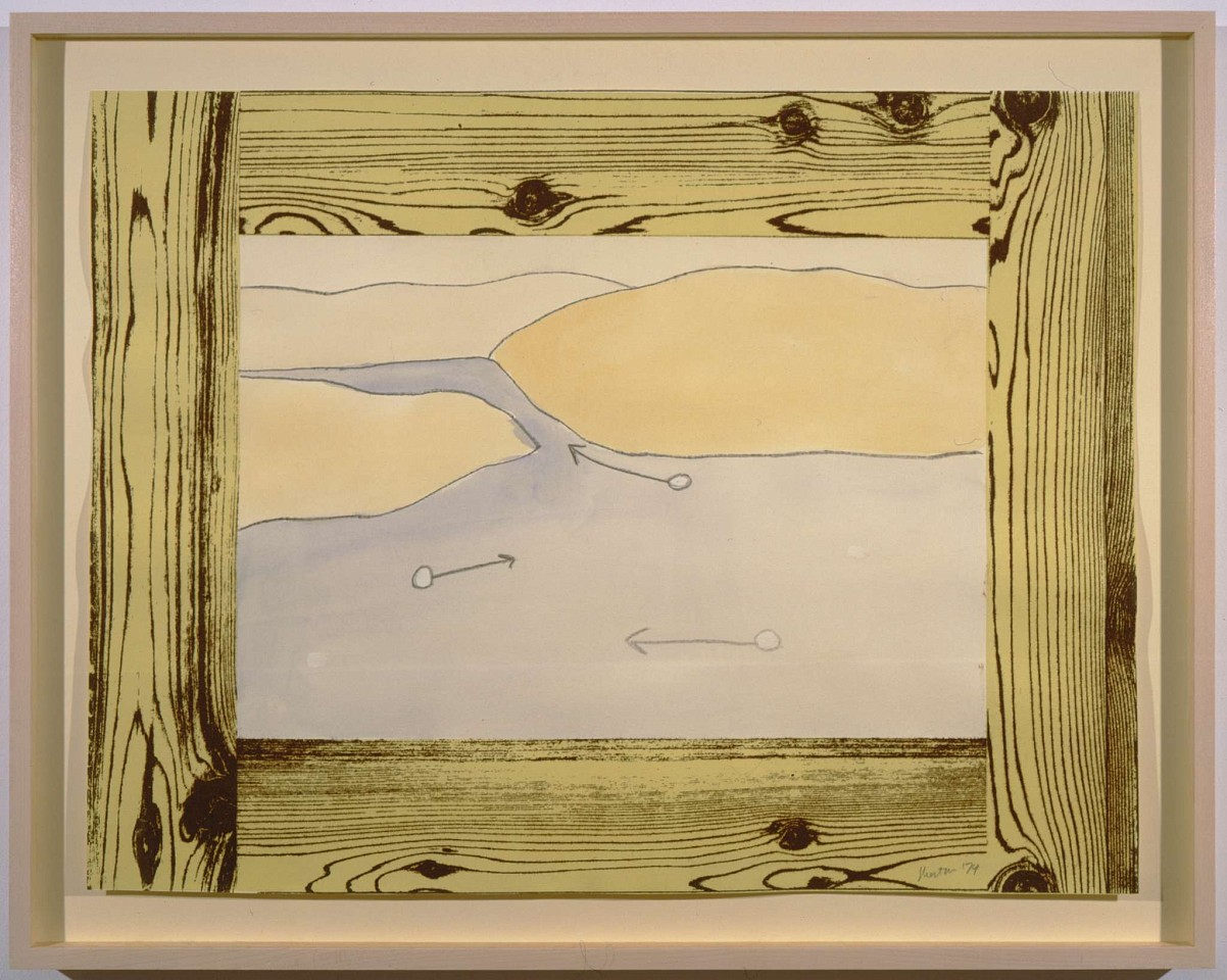 Ree Morton ,   Untitled (Woodgrain, Currents in a Stream)  ,  1974     watercolor and pencil on printed paper     19 x 25 in./48.5 x 63.5 cm     REM-74-DR-081