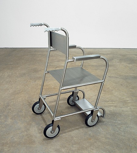 Mona Hatoum ,   Untitled (wheelchair II)  ,  1999     stainless steel, rubber     37¼ x 19 x 25 in/94.5 x 48.5 x 63.5 cm     MOH-99-SC-022