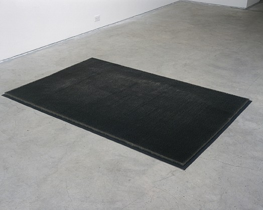 Mona Hatoum ,   Pin Rug  ,  1998-99     stainless steel pins, canvas, glue     1 3/8 x 47 7/8 x 73 5/8 in/3.5 x 121.5 x 187 cm     MOH-99-SC-037