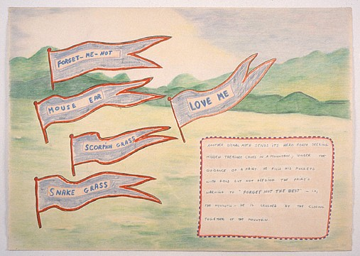 Ree Morton ,   Love Me  ,  1974     pencil, crayon and chalk on paper     29½ x 41½ in./74.9 x 105.4 cm     REM-74-DR-097