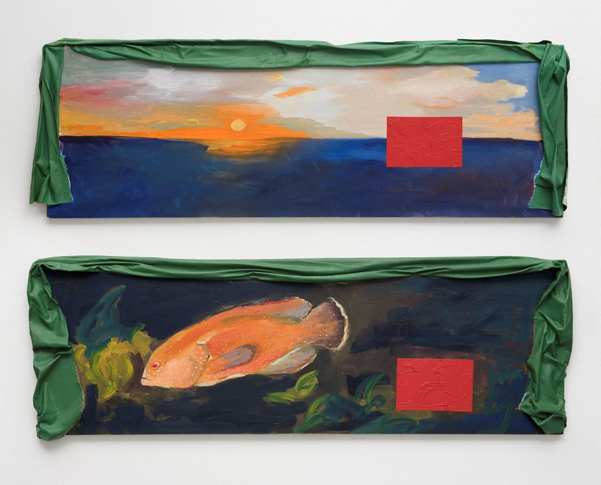 Ree Morton ,   Regional Piece  ,  1975-76     oil on wood and enamel on celastic in two parts     each: 17 x 50 in./43 x 127 cm     REM-75-PA-001/R/R