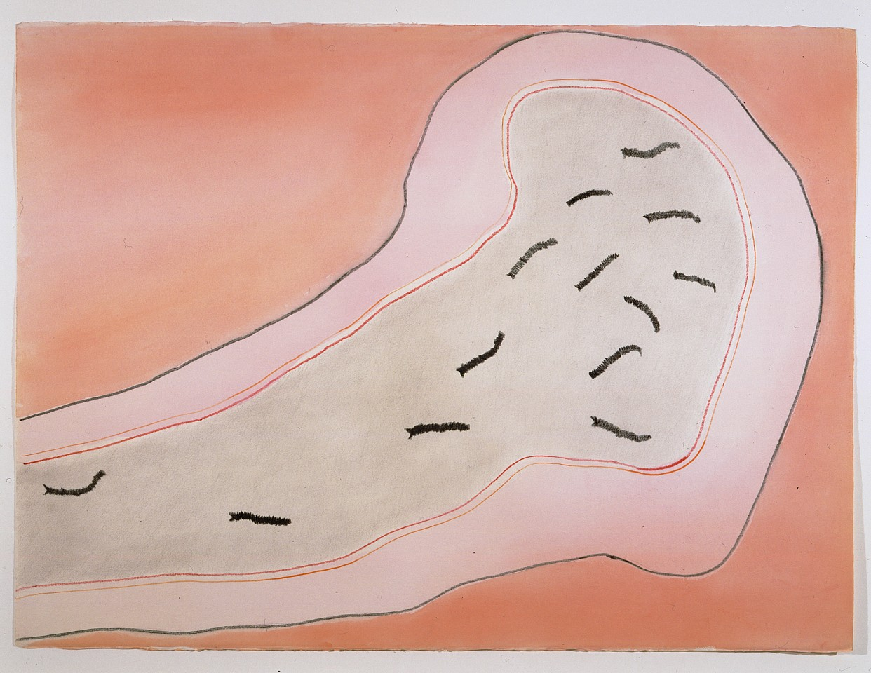 Ree Morton ,   Untitled (Cell Drawing with Pink)  ,  1974     watercolor, crayon and graphite on paper     22½ x 30¼ in./57 x 77 cm     REM-74-DR-049