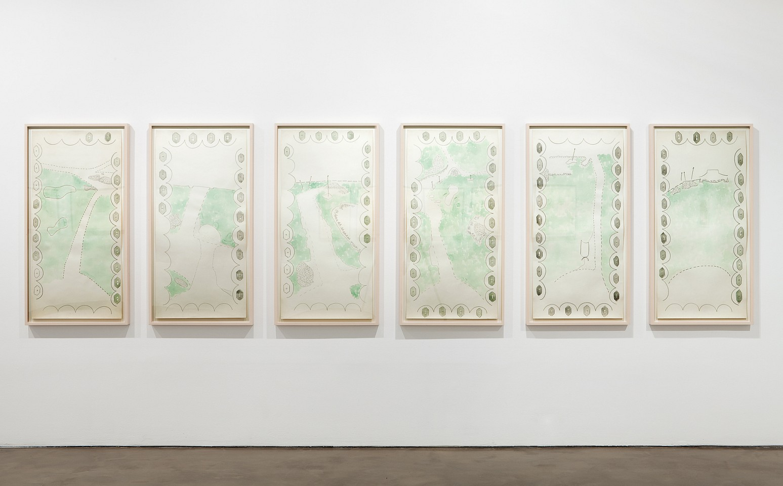 Ree Morton ,   Game-Map Drawing I-VI  ,  ca. 1972-73     set of 6; watercolor and pencil on paper     each: 47 x 22 1/2 in/119.4 x 57.2 cm     REM-72-DR-053