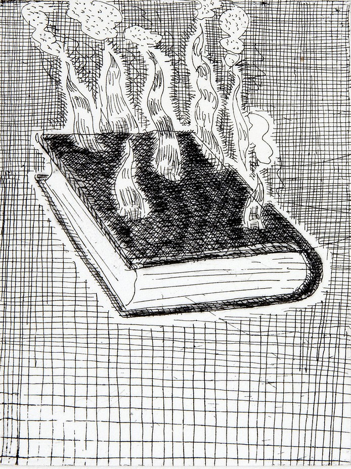 Paul Thek ,   Untitled (Burning Book)  ,  1975/92     etching on handmade Twinrocker paper     10 x 7 3/4 in/ 25.5 x 20 cm edition of 25     PAT-75-PR-008